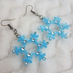 Sparkling Snowflake Earrings, Handcrafted NWOT